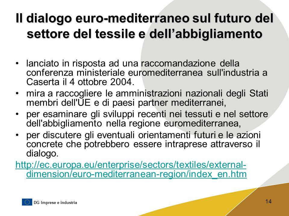 DG Imprese e industria 14 Il dialogo euro-mediterraneo sul futuro del settore del tessile e dell'abbigliamento lanciato in risposta ad una raccomandaz
