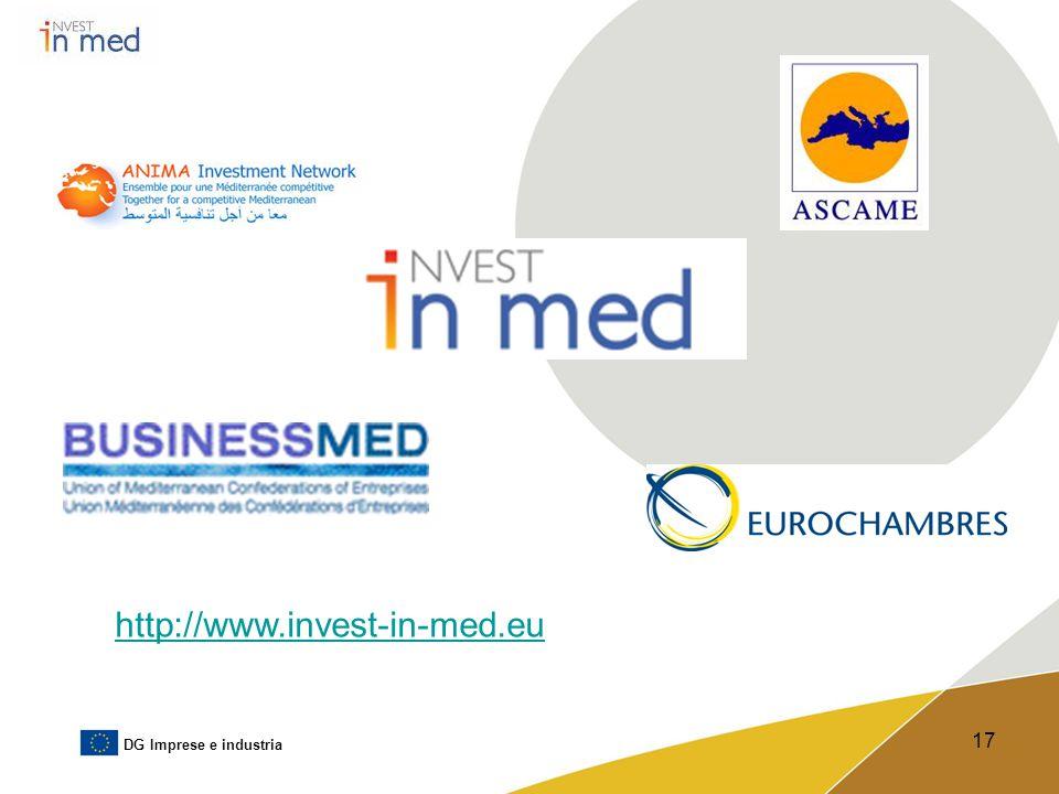 DG Imprese e industria 17 http://www.invest-in-med.eu