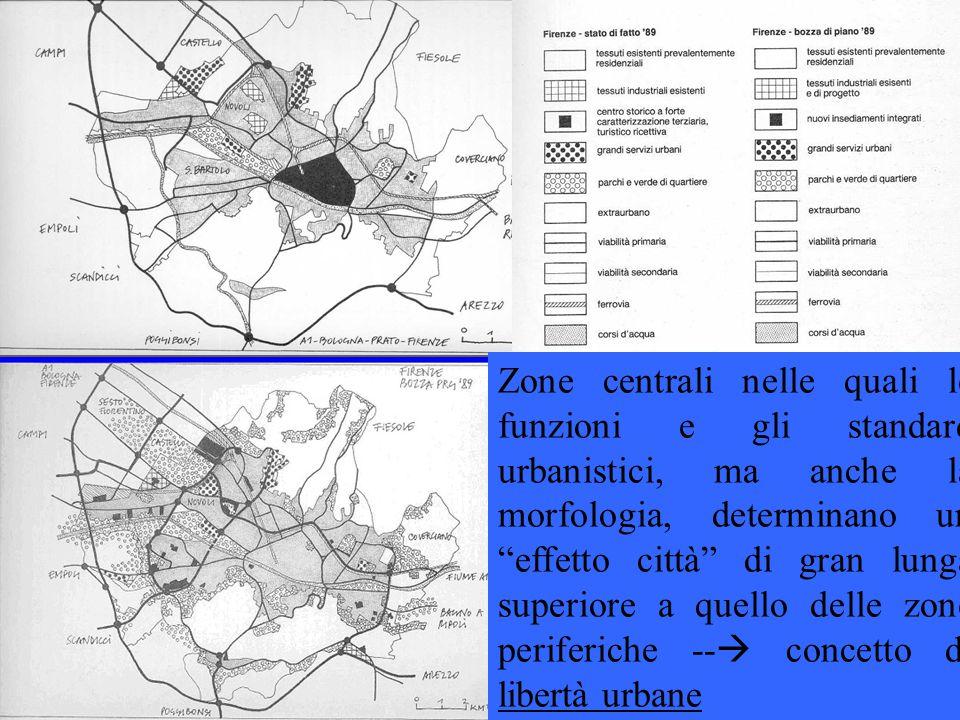 """Zone centrali nelle quali le funzioni e gli standard urbanistici, ma anche la morfologia, determinano un """"effetto città"""" di gran lunga superiore a que"""