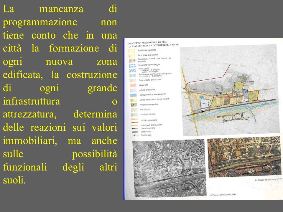 La mancanza di programmazione non tiene conto che in una città la formazione di ogni nuova zona edificata, la costruzione di ogni grande infrastruttur