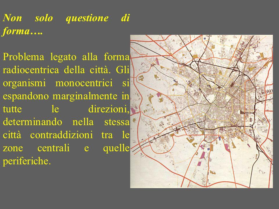 Non solo questione di forma…. Problema legato alla forma radiocentrica della città. Gli organismi monocentrici si espandono marginalmente in tutte le