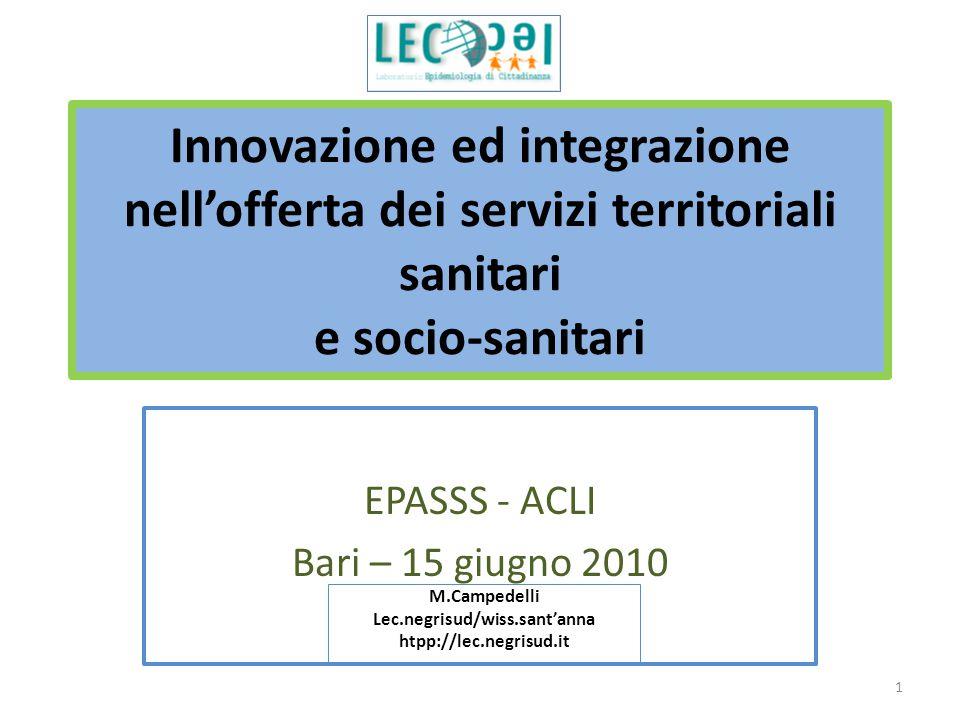 Innovazione ed integrazione nell'offerta dei servizi territoriali sanitari e socio-sanitari EPASSS - ACLI Bari – 15 giugno 2010 M.Campedelli Lec.negrisud/wiss.sant'anna htpp://lec.negrisud.it 1