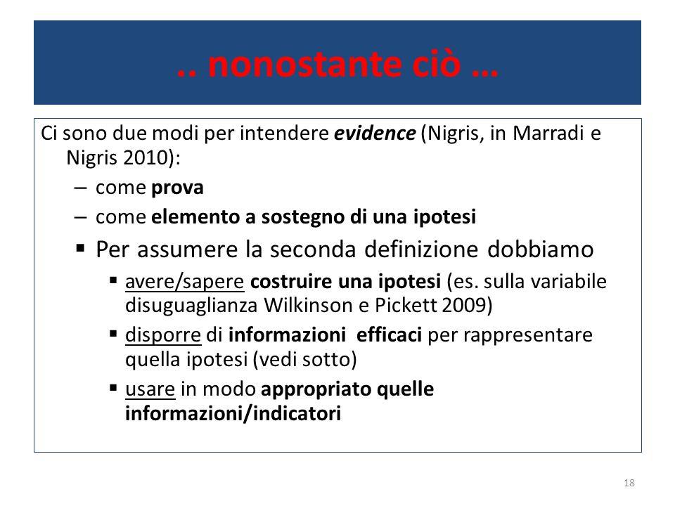 .. nonostante ciò … Ci sono due modi per intendere evidence (Nigris, in Marradi e Nigris 2010): – come prova – come elemento a sostegno di una ipotesi