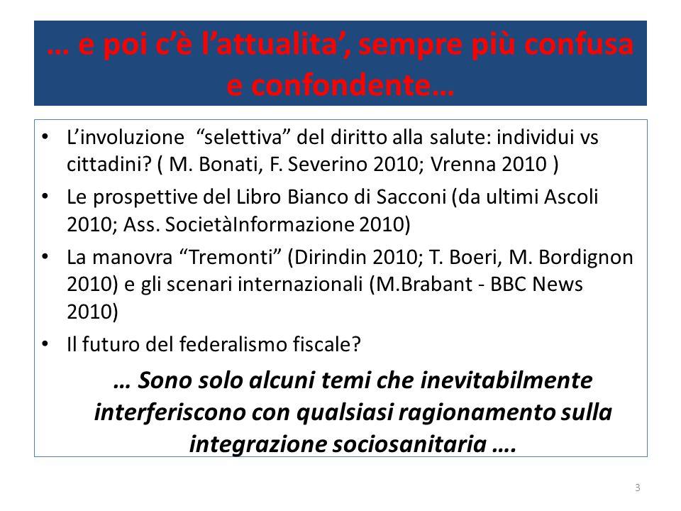 Dal sociale … l'integrazione … Le politiche sociali da sole non bastano….
