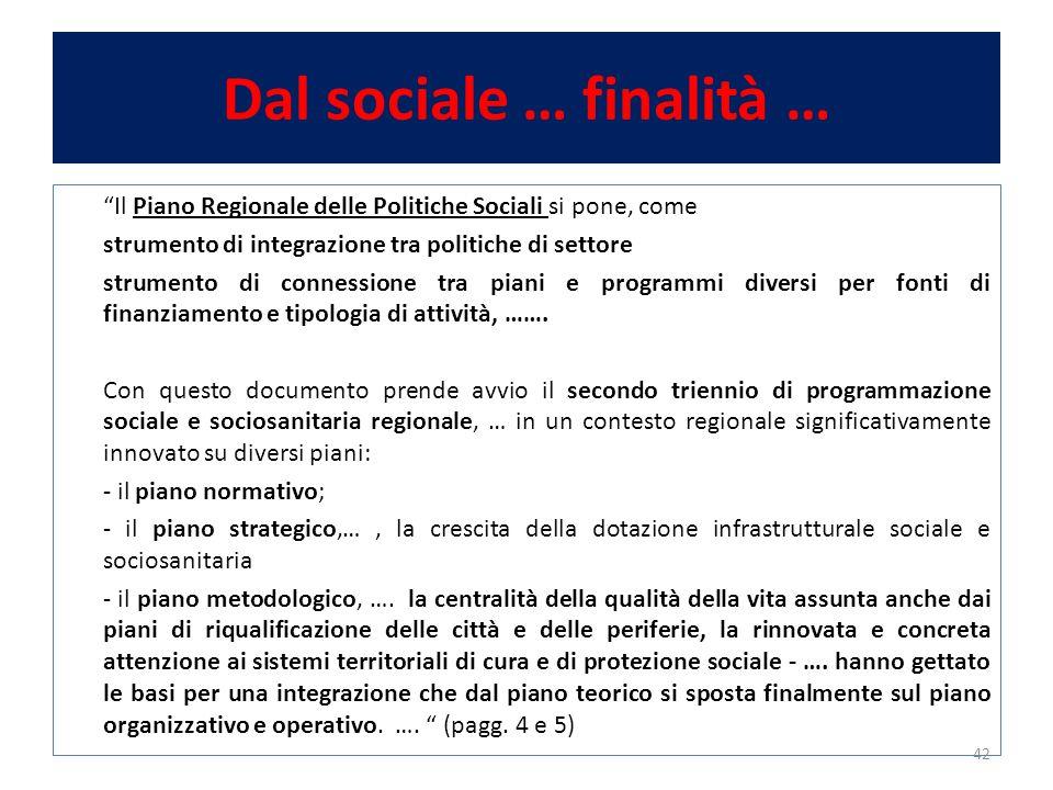 Dal sociale … finalità … Il Piano Regionale delle Politiche Sociali si pone, come strumento di integrazione tra politiche di settore strumento di connessione tra piani e programmi diversi per fonti di finanziamento e tipologia di attività, …….