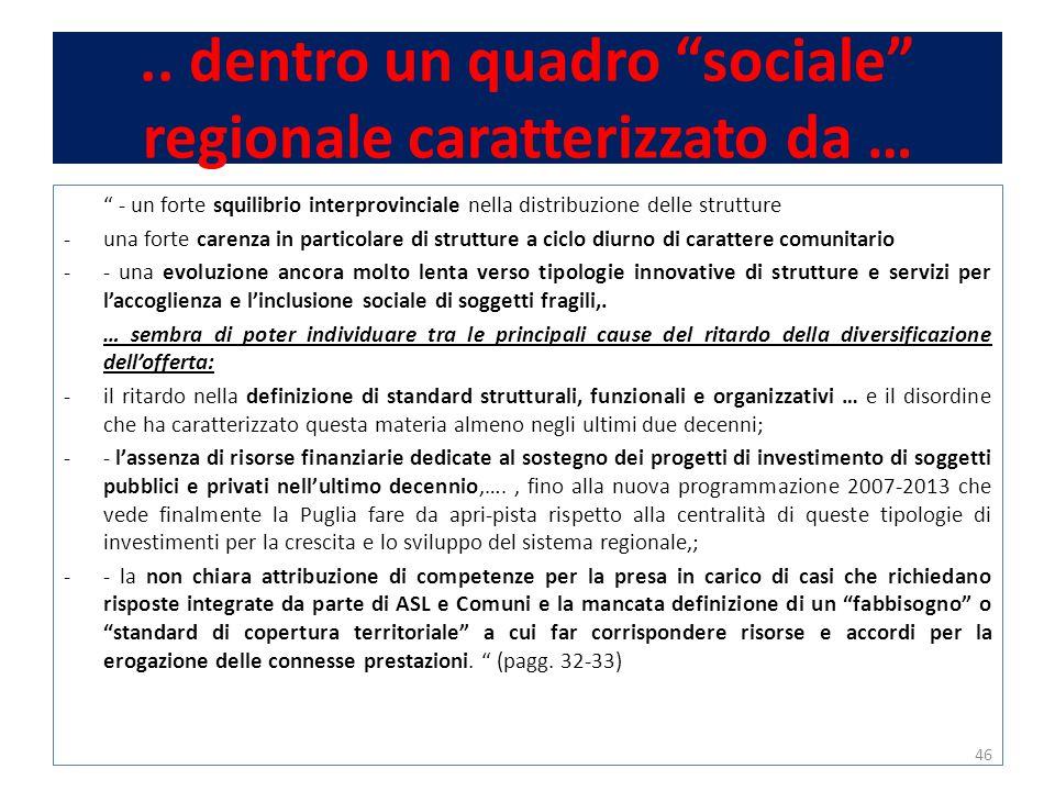 """.. dentro un quadro """"sociale"""" regionale caratterizzato da … """" - un forte squilibrio interprovinciale nella distribuzione delle strutture -una forte ca"""