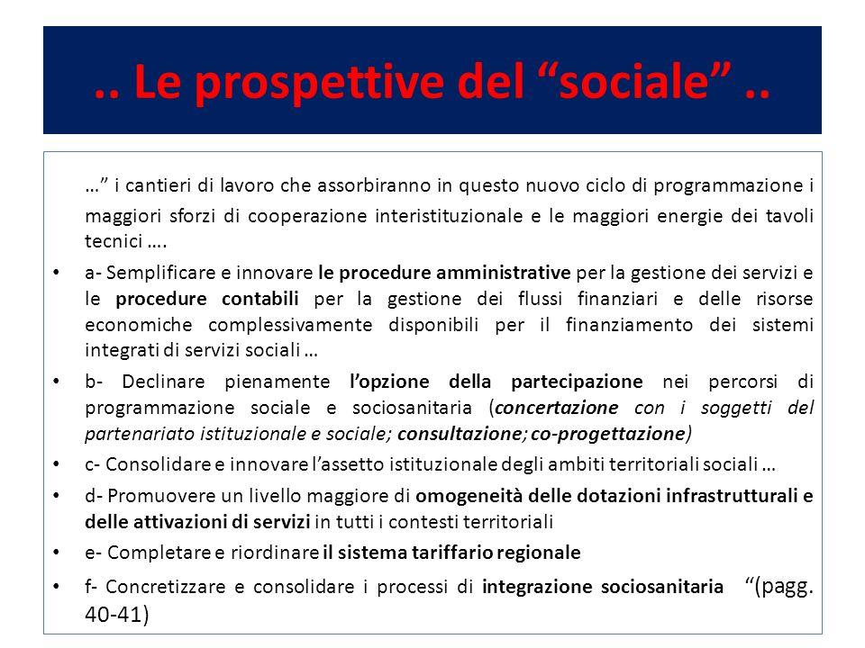 .. Le prospettive del sociale ..