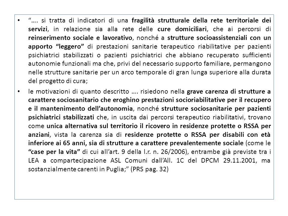 """""""…. si tratta di indicatori di una fragilità strutturale della rete territoriale dei servizi, in relazione sia alla rete delle cure domiciliari, che a"""