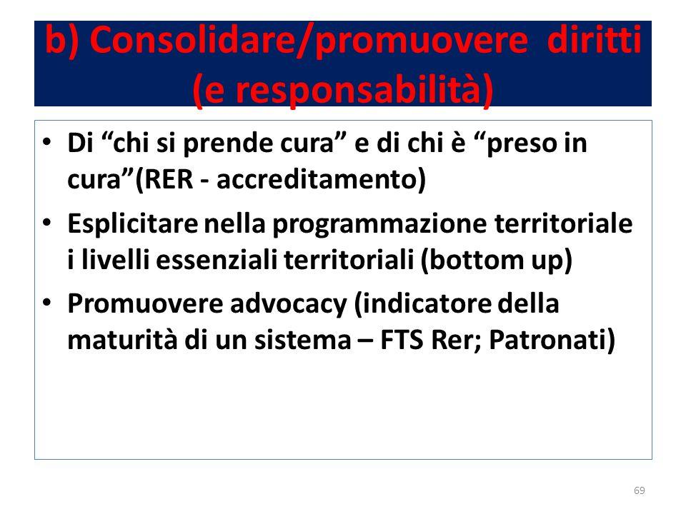 b) Consolidare/promuovere diritti (e responsabilità) Di chi si prende cura e di chi è preso in cura (RER - accreditamento) Esplicitare nella programmazione territoriale i livelli essenziali territoriali (bottom up) Promuovere advocacy (indicatore della maturità di un sistema – FTS Rer; Patronati) 69