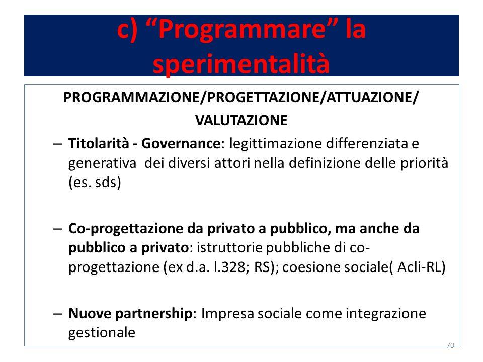 c) Programmare la sperimentalità PROGRAMMAZIONE/PROGETTAZIONE/ATTUAZIONE/ VALUTAZIONE – Titolarità - Governance: legittimazione differenziata e generativa dei diversi attori nella definizione delle priorità (es.