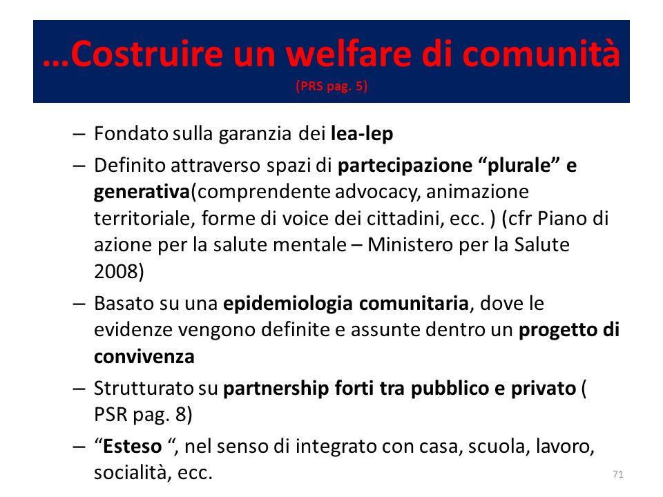 …Costruire un welfare di comunità (PRS pag.