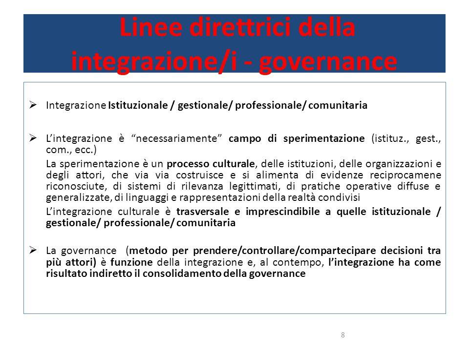 Linee direttrici della integrazione/i - governance  Integrazione Istituzionale / gestionale/ professionale/ comunitaria  L'integrazione è necessariamente campo di sperimentazione (istituz., gest., com., ecc.) La sperimentazione è un processo culturale, delle istituzioni, delle organizzazioni e degli attori, che via via costruisce e si alimenta di evidenze reciprocamene riconosciute, di sistemi di rilevanza legittimati, di pratiche operative diffuse e generalizzate, di linguaggi e rappresentazioni della realtà condivisi L'integrazione culturale è trasversale e imprescindibile a quelle istituzionale / gestionale/ professionale/ comunitaria  La governance (metodo per prendere/controllare/compartecipare decisioni tra più attori) è funzione della integrazione e, al contempo, l'integrazione ha come risultato indiretto il consolidamento della governance 8