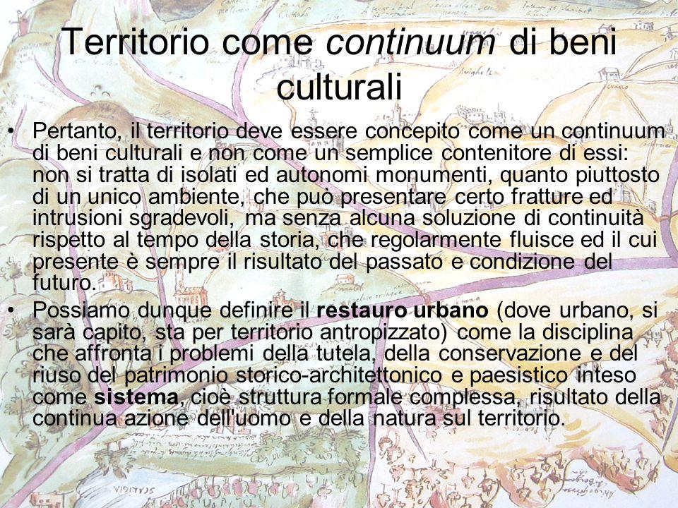 Territorio come continuum di beni culturali Pertanto, il territorio deve essere concepito come un continuum di beni culturali e non come un semplice c