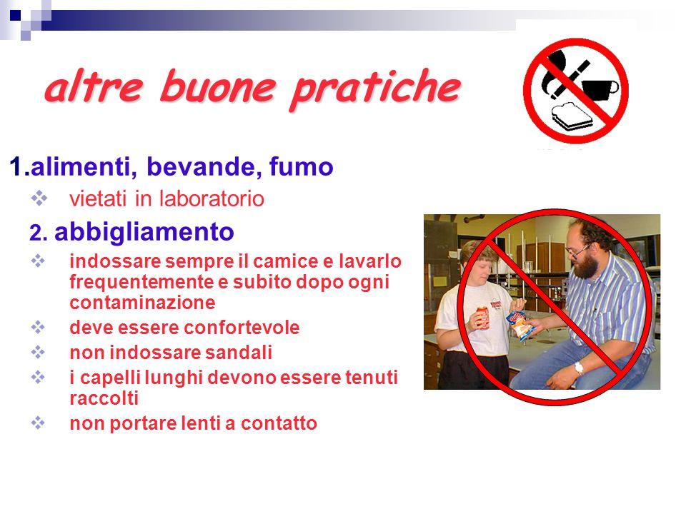 altre buone pratiche 1.alimenti, bevande, fumo  vietati in laboratorio 2. abbigliamento  indossare sempre il camice e lavarlo frequentemente e subit