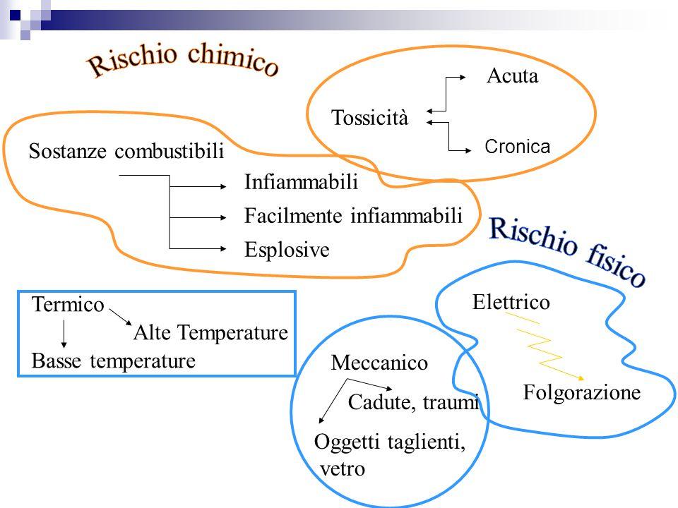 Tossicità Acuta Cronica Sostanze combustibili Infiammabili Facilmente infiammabili Esplosive Termico Alte Temperature Basse temperature Elettrico Folg