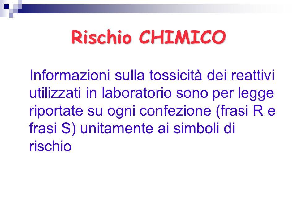 Rischio CHIMICO Informazioni sulla tossicità dei reattivi utilizzati in laboratorio sono per legge riportate su ogni confezione (frasi R e frasi S) un