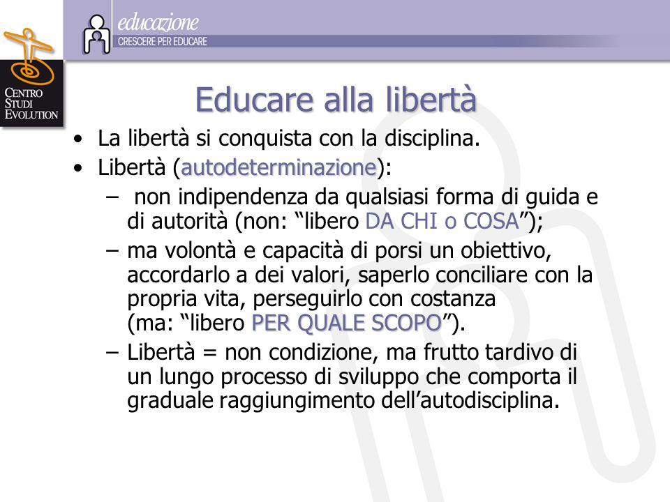 Educare alla libertà La libertà si conquista con la disciplina. Libertà (autodeterminazione): – non indipendenza da qualsiasi forma di guida e di auto