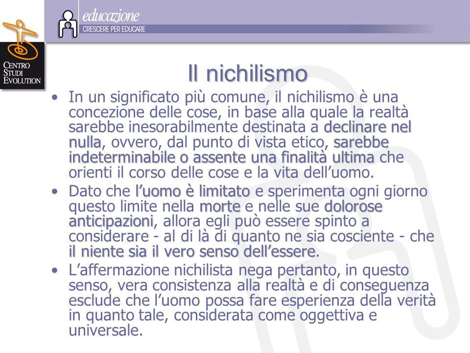 I II Il nichilismo In un significato più comune, il nichilismo è una concezione delle cose, in base alla quale la realtà sarebbe inesorabilmente desti
