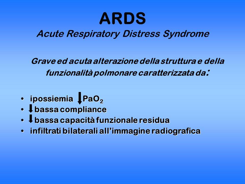DIAGNOSI ALI Acute Lung Injury ARDS Acute Respiratory Distress Syndrome ConditionTimingPaO 2 /FiO 2 Rx-torace P.incuneamento ALIAcute< 300 Infiltrati bilaterali < 18 mmHg No aum.