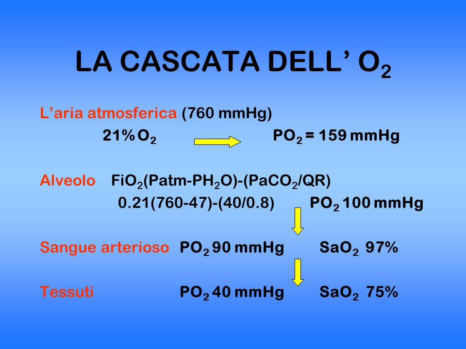 INSUFFICIENZA RESPIRATORIA Condizione di alterata pressione parziale dei gas arteriosi O 2 e CO 2 PaO 2 < 60 mmHg durante respirazione in aria ambiente e/o PaCO 2 > 45 mmHg