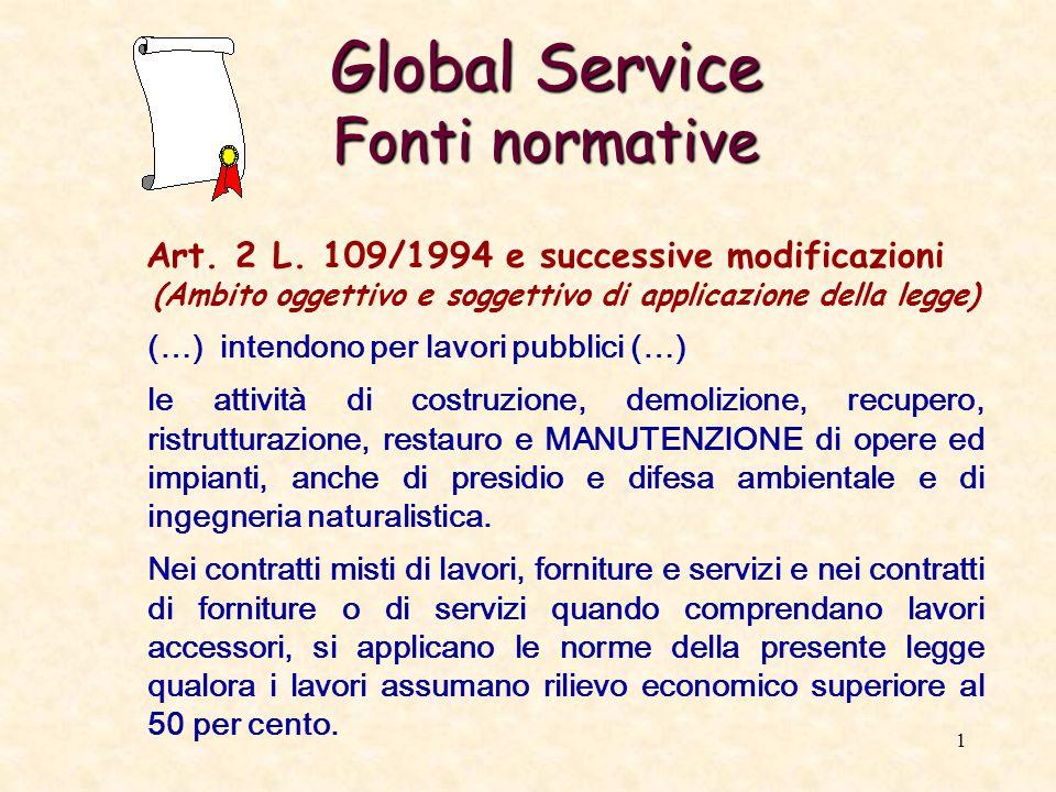 2 Global Service Fonti normative Art.28, comma 2 bis, L.