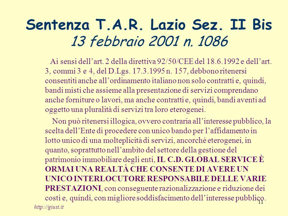 11 Sentenza T.A.R. Lazio Sez. II Bis 13 febbraio 2001 n.