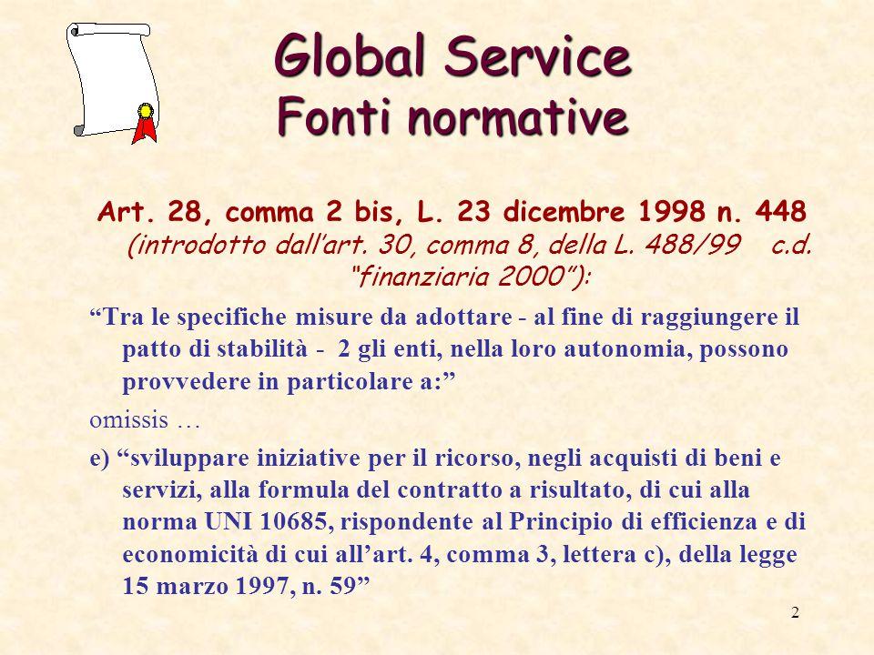 3 Global Service Fonti normative Art.24, comma 8, L.