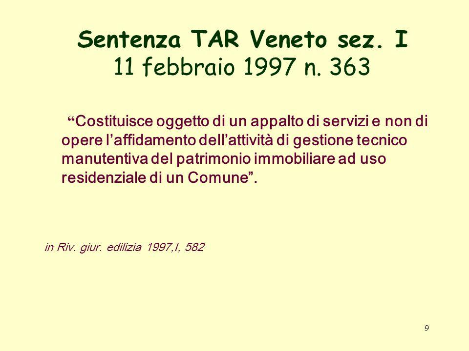 9 Sentenza TAR Veneto sez. I 11 febbraio 1997 n.