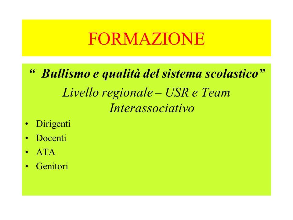 """FORMAZIONE """" Bullismo e qualità del sistema scolastico"""" Livello regionale – USR e Team Interassociativo Dirigenti Docenti ATA Genitori"""