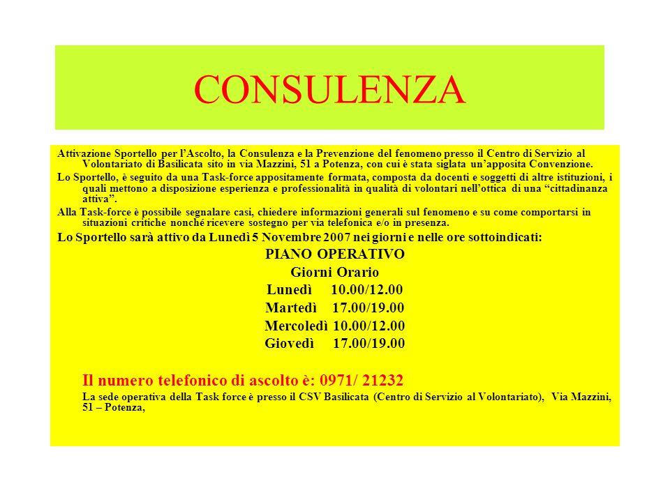 CONSULENZA Attivazione Sportello per l'Ascolto, la Consulenza e la Prevenzione del fenomeno presso il Centro di Servizio al Volontariato di Basilicata