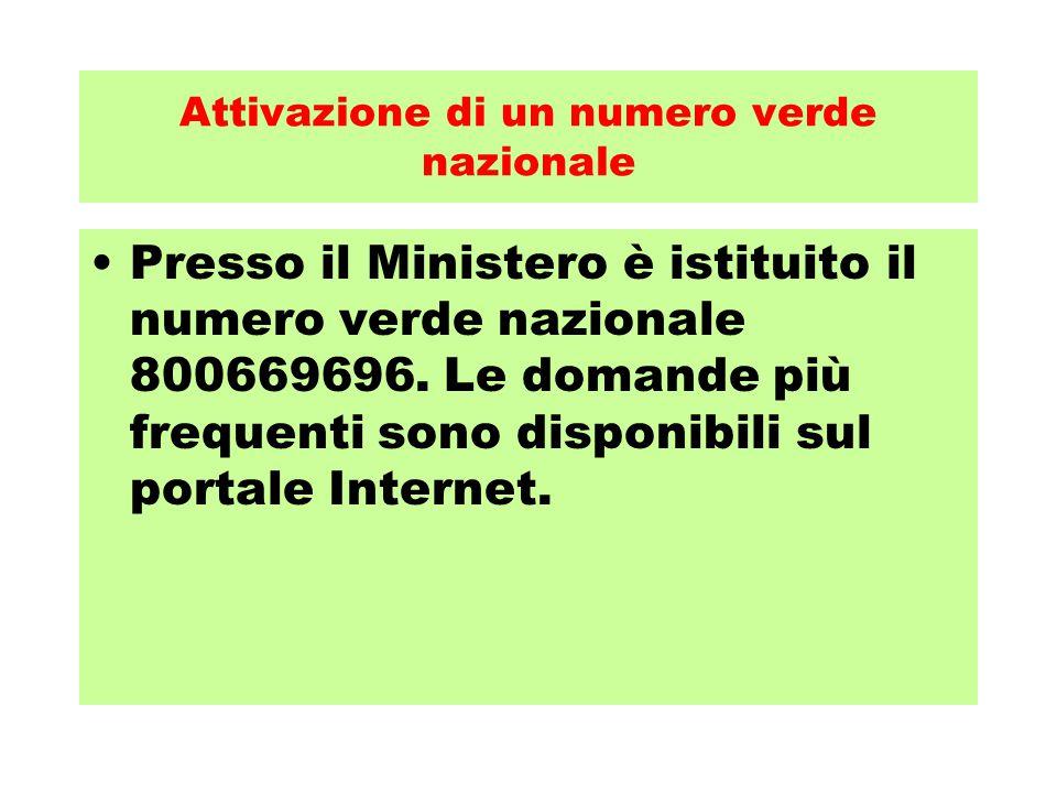 Attivazione di un numero verde nazionale Presso il Ministero è istituito il numero verde nazionale 800669696. Le domande più frequenti sono disponibil
