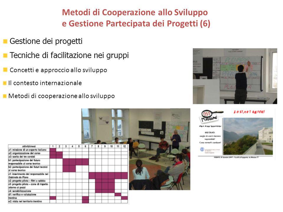 Gestione dei progetti Tecniche di facilitazione nei gruppi Concetti e approccio allo sviluppo Il contesto internazionale Metodi di cooperazione allo s