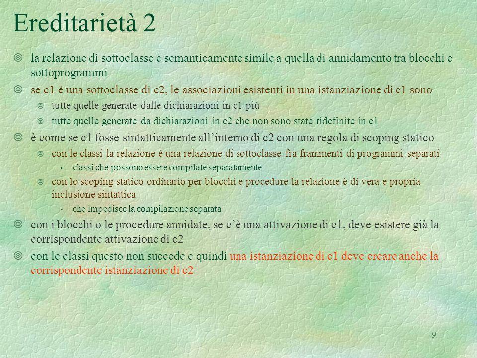 20 Semantica delle espressioni 1 and sem (e:exp) (r:dval env) (s: mval store) (h: heap) = match e with   Eint(n) -> Int(n), s, h   Ebool(b) -> Bool(b), s, h   Den(i) -> dvaltoeval(applyenv(r,i)), s, h   Iszero(a) -> let (v1, s1, h1) = sem a r s h in (iszero(v1), s1, h1)   Eq(a,b) -> let (v1, s1, h1) = sem a r s h in let (v2, s2, h2) = sem b r s1 h1 in (equ(v1, v2), s2, h2)   Prod(a,b) -> let (v1, s1, h1) = sem a r s h in let (v2, s2, h2) = sem b r s1 h1 in (mult(v1, v2), s2, h2)   Sum(a,b) -> let (v1, s1, h1) = sem a r s h in let (v2, s2, h2) = sem b r s1 h1 in (plus(v1, v2), s2, h2)   Diff(a,b) -> let (v1, s1, h1) = sem a r s h in let (v2, s2, h2) = sem b r s1 h1 in (diff(v1, v2), s2, h2)   Minus(a) -> let (v1, s1, h1) = sem a r s h in (minus(v1), s1, h1)   And(a,b) -> let (v1, s1, h1) = sem a r s h in let (v2, s2, h2) = sem b r s1 h1 in (et(v1, v2), s2, h2)   Or(a,b) -> let (v1, s1, h1) = sem a r s h in let (v2, s2, h2) = sem b r s1 h1 in (vel(v1, v2), s2, h2)   Not(a) -> let (v1, s1, h1) = sem a r s h in (non(v1), s1, h1)