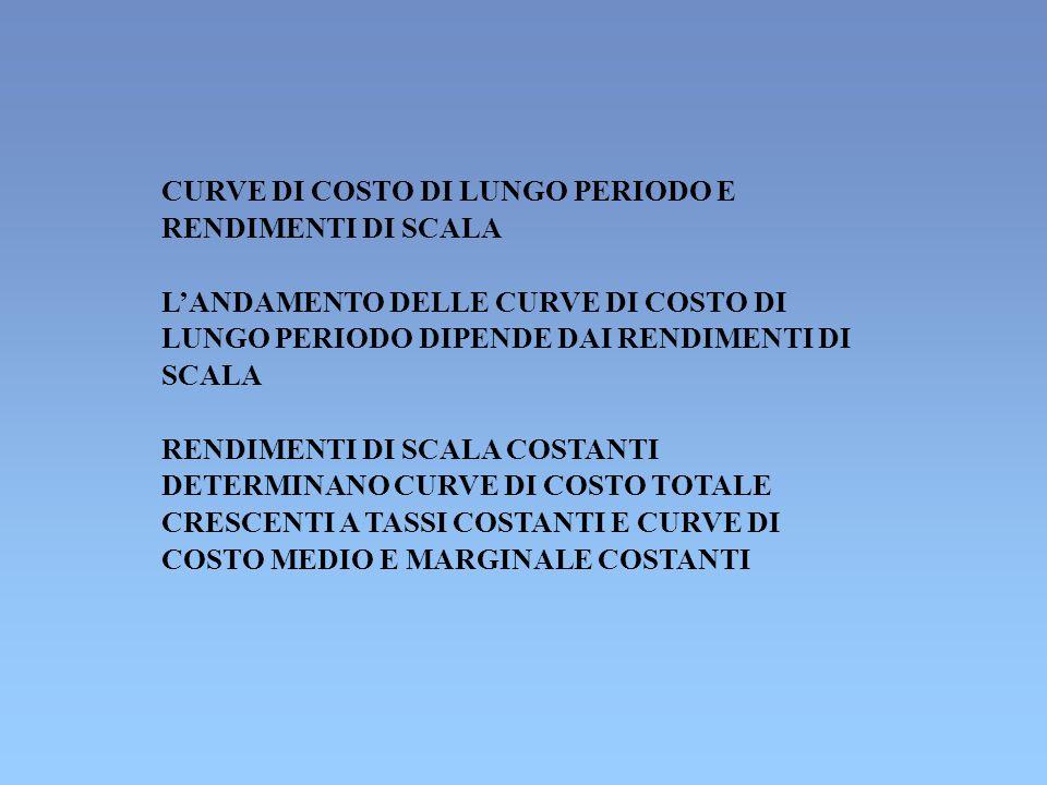 CURVE DI COSTO DI LUNGO PERIODO E RENDIMENTI DI SCALA L'ANDAMENTO DELLE CURVE DI COSTO DI LUNGO PERIODO DIPENDE DAI RENDIMENTI DI SCALA RENDIMENTI DI SCALA COSTANTI DETERMINANO CURVE DI COSTO TOTALE CRESCENTI A TASSI COSTANTI E CURVE DI COSTO MEDIO E MARGINALE COSTANTI
