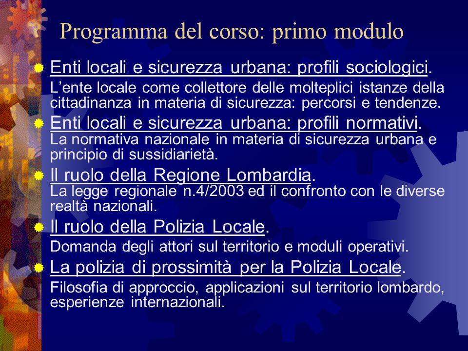 Programma del corso: primo modulo  Enti locali e sicurezza urbana: profili sociologici. L'ente locale come collettore delle molteplici istanze della