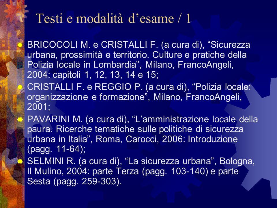 Testi e modalità d'esame / 1  BRICOCOLI M. e CRISTALLI F.