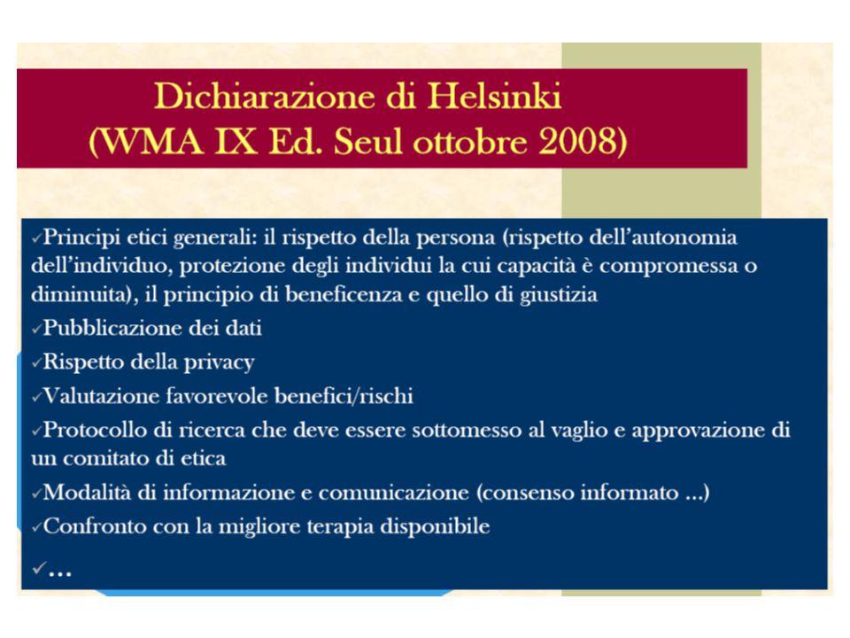 Dichiarazione di Helsinki http://www.wma.net/e/policy/b3.htm Così… International Conference of Harmonization Good Clinical Practice (ICH-GCP) ( 1964 – 2008) Elaborazione di linee guida diverse per ogni nazione (1986-1990) (1997)