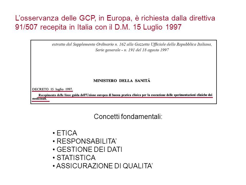 L'osservanza delle GCP, in Europa, è richiesta dalla direttiva 91/507 recepita in Italia con il D.M.