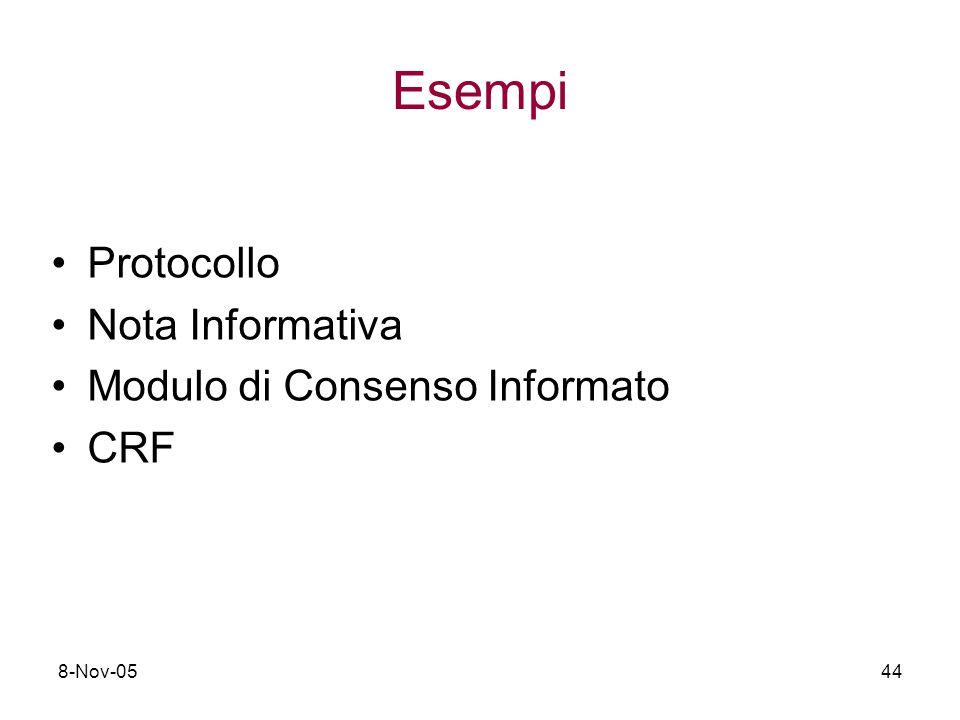 8-Nov-0544 Esempi Protocollo Nota Informativa Modulo di Consenso Informato CRF