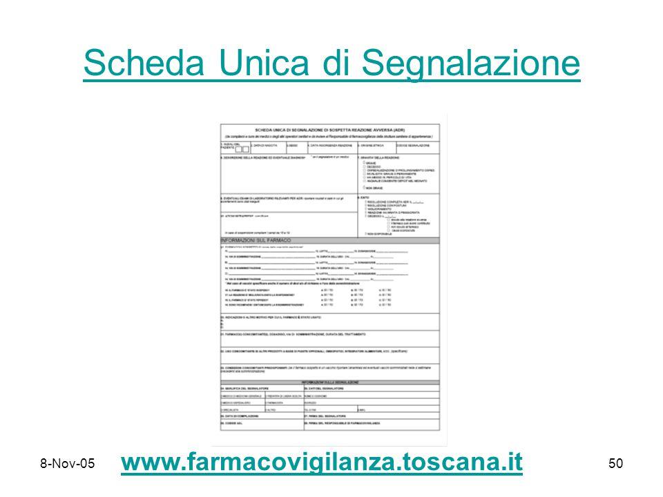 8-Nov-0550 Scheda Unica di Segnalazione www.farmacovigilanza.toscana.it