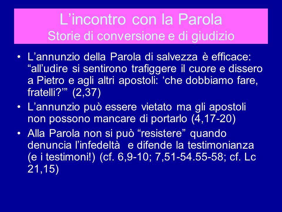 L'incontro con la Parola La storia di Barnaba e quella di Anania e Saffira Come interpretare.