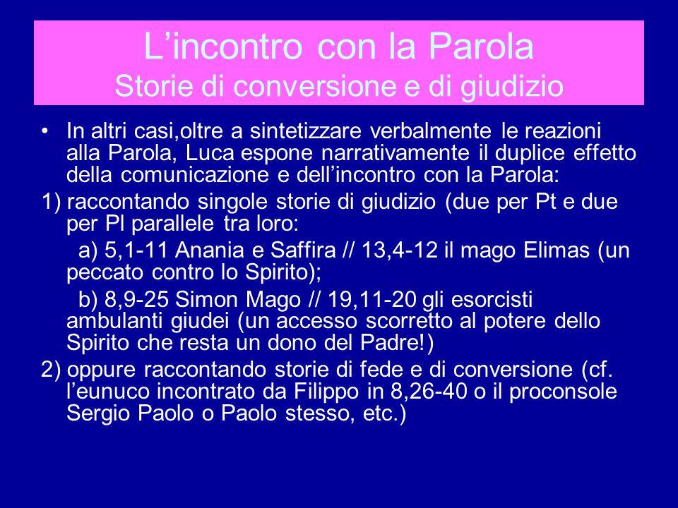 L'incontro con la Parola Storie di conversione e di giudizio In altri casi,oltre a sintetizzare verbalmente le reazioni alla Parola, Luca espone narrativamente il duplice effetto della comunicazione e dell'incontro con la Parola: 1) raccontando singole storie di giudizio (due per Pt e due per Pl parallele tra loro: a) 5,1-11 Anania e Saffira // 13,4-12 il mago Elimas (un peccato contro lo Spirito); b) 8,9-25 Simon Mago // 19,11-20 gli esorcisti ambulanti giudei (un accesso scorretto al potere dello Spirito che resta un dono del Padre!) 2) oppure raccontando storie di fede e di conversione (cf.