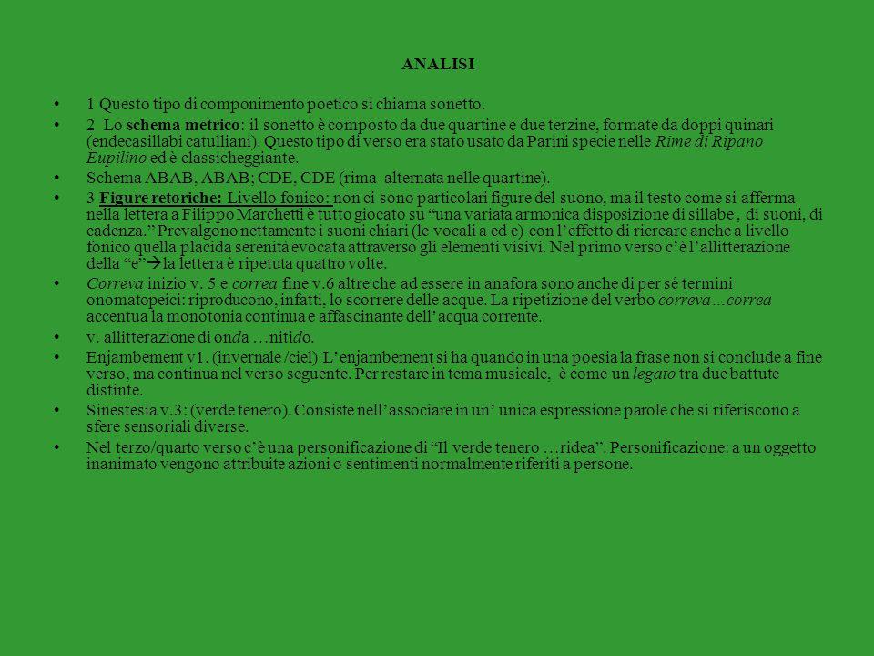 ANALISI 1 Questo tipo di componimento poetico si chiama sonetto. 2 Lo schema metrico: il sonetto è composto da due quartine e due terzine, formate da