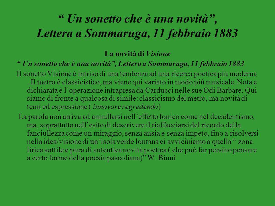 """"""" Un sonetto che è una novità"""", Lettera a Sommaruga, 11 febbraio 1883 La novità di Visione """" Un sonetto che è una novità"""", Lettera a Sommaruga, 11 feb"""