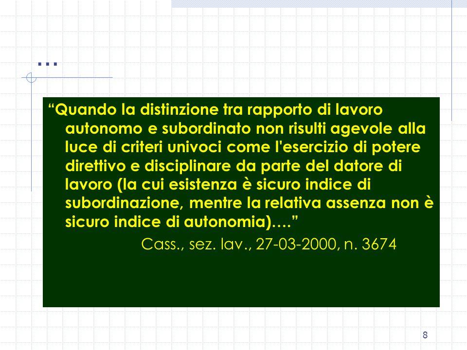 7 Gli indici giurisprudenziali La sottoposizione alle direttive tecniche, al potere di controllo e al potere disciplinare dell'imprenditore Si può misurare il quantum di eterodeterminazione, oltre il quale sussiste subordinazione.