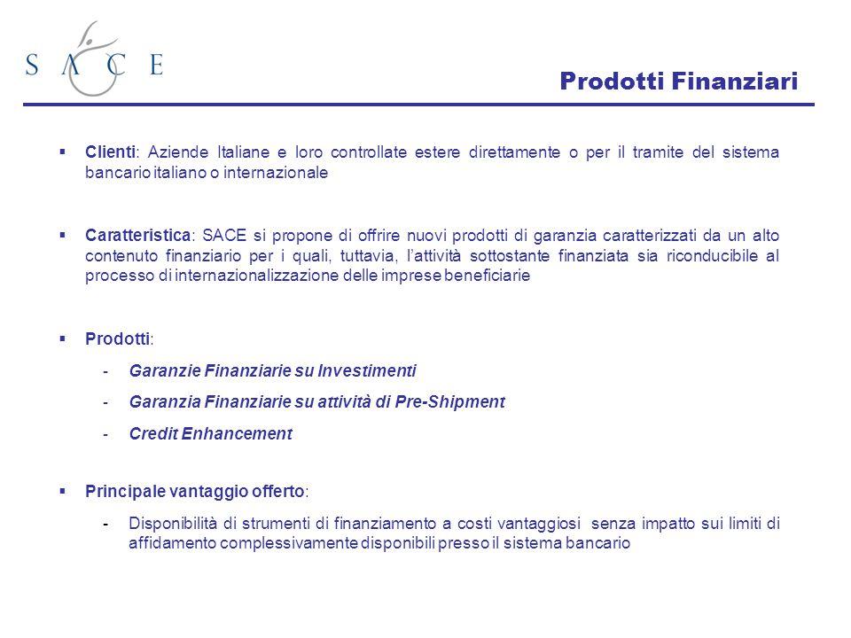  Clienti: Aziende Italiane e loro controllate estere direttamente o per il tramite del sistema bancario italiano o internazionale  Caratteristica: S