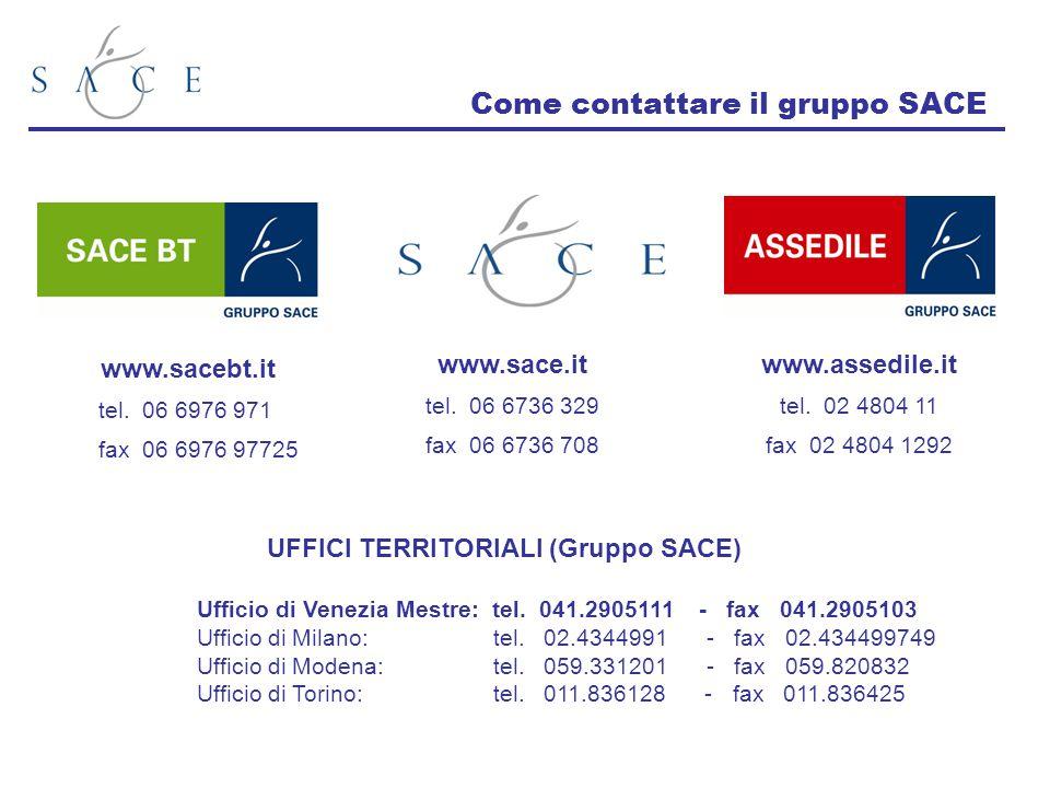 Come contattare il gruppo SACE www.sace.it tel. 06 6736 329 fax 06 6736 708 www.sacebt.it tel. 06 6976 971 fax 06 6976 97725 UFFICI TERRITORIALI (Grup