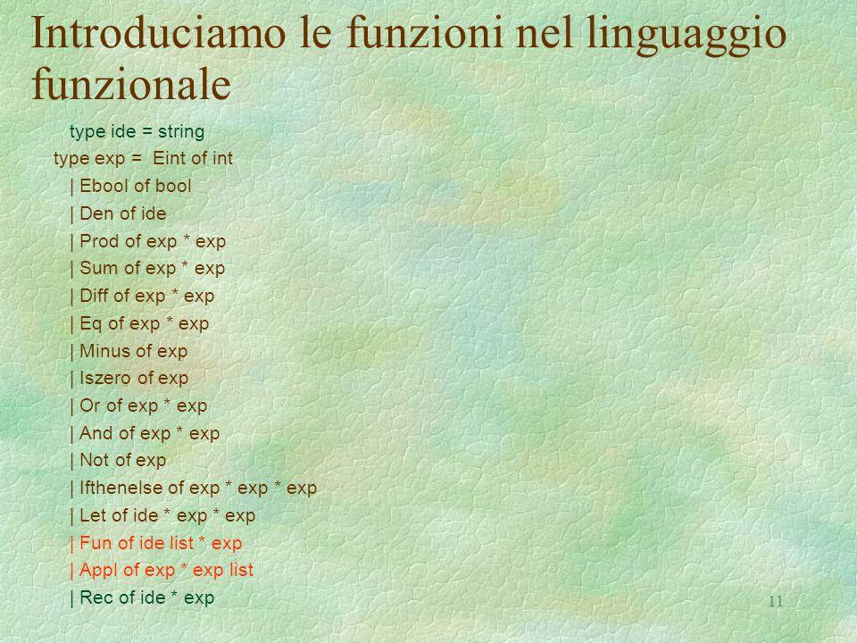 11 Introduciamo le funzioni nel linguaggio funzionale type ide = string type exp = Eint of int | Ebool of bool | Den of ide | Prod of exp * exp | Sum of exp * exp | Diff of exp * exp | Eq of exp * exp | Minus of exp | Iszero of exp | Or of exp * exp | And of exp * exp | Not of exp | Ifthenelse of exp * exp * exp | Let of ide * exp * exp | Fun of ide list * exp | Appl of exp * exp list | Rec of ide * exp