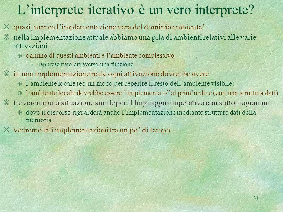 31 L'interprete iterativo è un vero interprete.