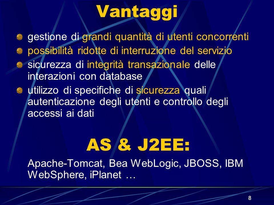 8 Vantaggi gestione di grandi quantità di utenti concorrenti possibilità ridotte di interruzione del servizio sicurezza di integrità transazionale delle interazioni con database utilizzo di specifiche di sicurezza quali autenticazione degli utenti e controllo degli accessi ai dati AS & J2EE: Apache-Tomcat, Bea WebLogic, JBOSS, IBM WebSphere, iPlanet …